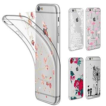 Leathlux Funda iPhone 6 / 6S Transparente Suave Silicona Carcasa Protectora TPU Cover + [5 PCS Ultra Delgado DIY Tarjetas Reemplazable con Patrón ...