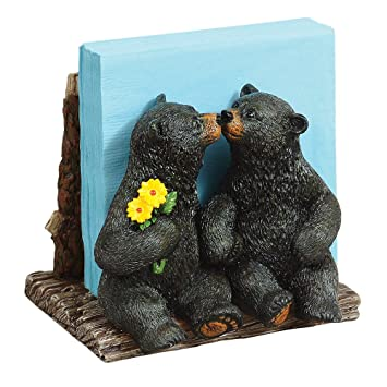 Kissing Black Bears Napkin Holder   Cabin Kitchen Decor