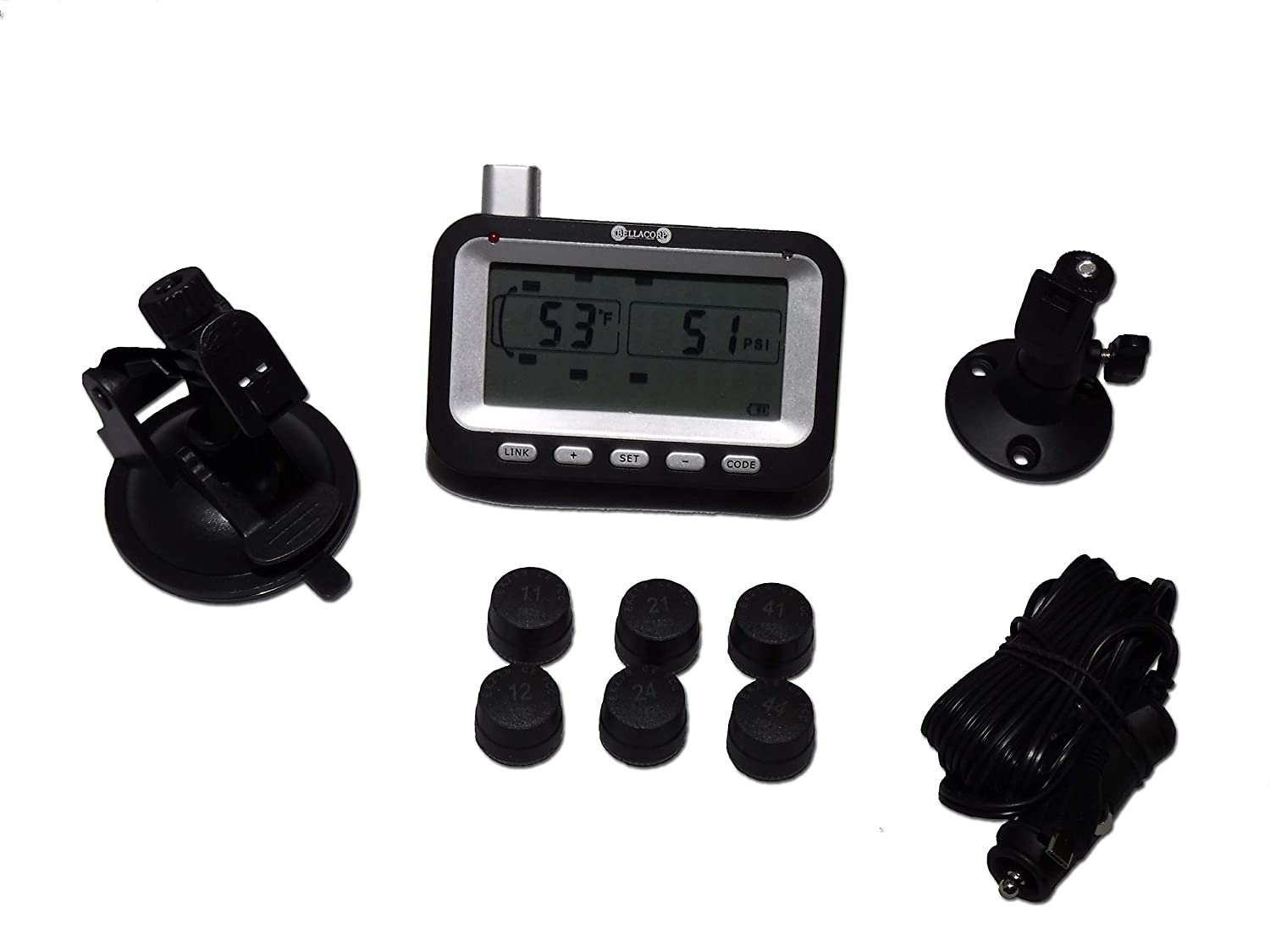 Camper or Trailer Tractor Truck Van 4x4 Car RV SUV Bellacorp Tire Pressure Monitoring System TPMS 4 Truck Sensors for Fifth Wheel