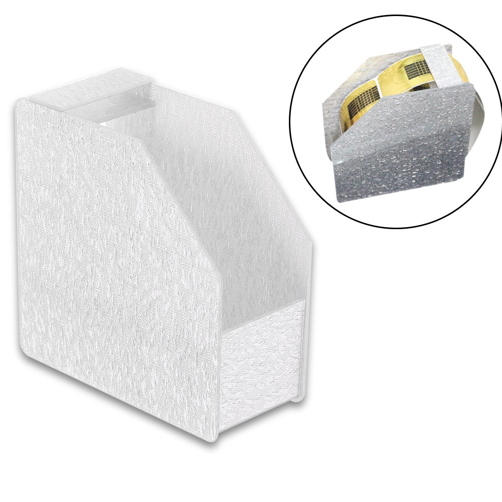 Manicure tape dispenser, Nail Tape Holder Storage Box Acrylic Organizer Case Nail Art Tools (Silver)