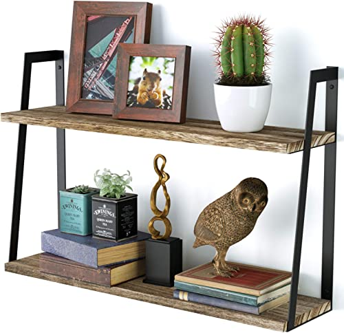 SRIWATANA Floating Wall Shelves, 2-Tier Rustic Wood Shelves for Bedoom, Bathroom, Living Room, Kitchen Carbonized Black