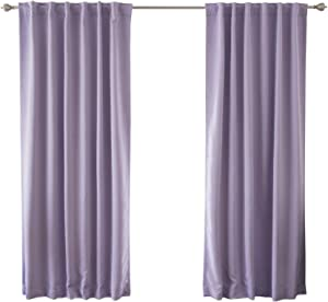 Best Home Fashion Premium Blackout Curtain Panels - Solid Thermal Insulated Window Treatment Blackout for Bedroom - Back Tab & Rod Pocket – Lavender - 52