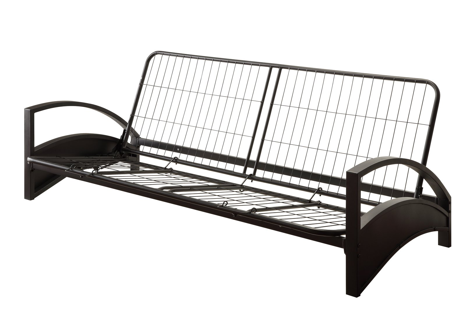 DHP Alessa Futon with Modern Metal Frame, Multifunctional Converts from Sofa to Bed, Full, Black by DHP
