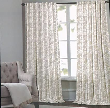 Cynthia Rowley Window Curtain Panels 52 Inches By 96 Inches Set Of 2 White  Floral Pattern