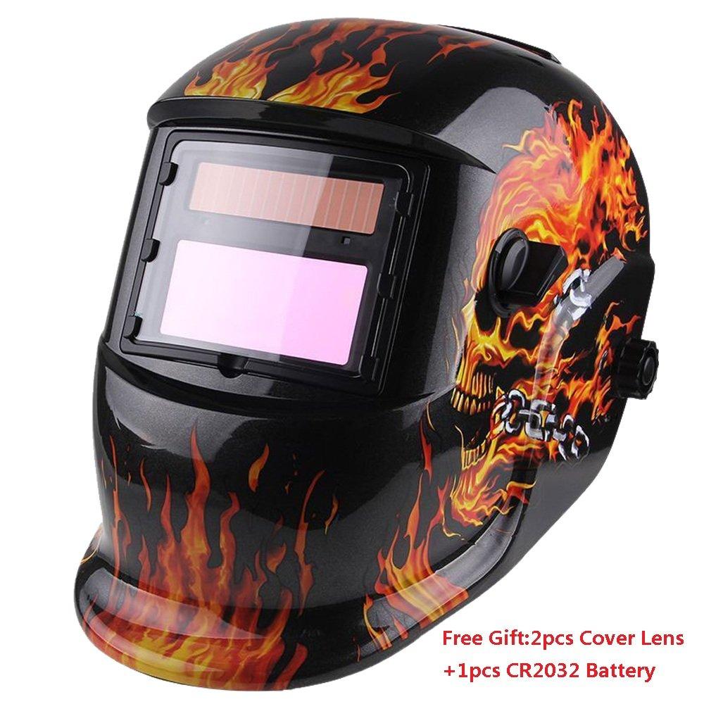 Z ZTDM Welding Helmet Solar Auto Darkening,Adjustable Shade Range DIN 9-13/Rest DIN 4,Welder Protective Gear ARC MIG TIG,2pcs Extra Lens+CR2032 Battery,ANSI Z87.1CE EN379 Approved (Flame Skeleton)