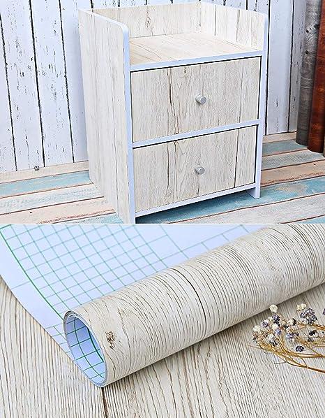 Blanco grano de madera de arce papel de contacto - Vinilo autoadhesivo para maletero para cuarto de ...