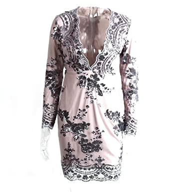 Hexu profunda pescoço v manga longa bordado lantejoula dress primavera outono malha mulheres bodycon dress NEW