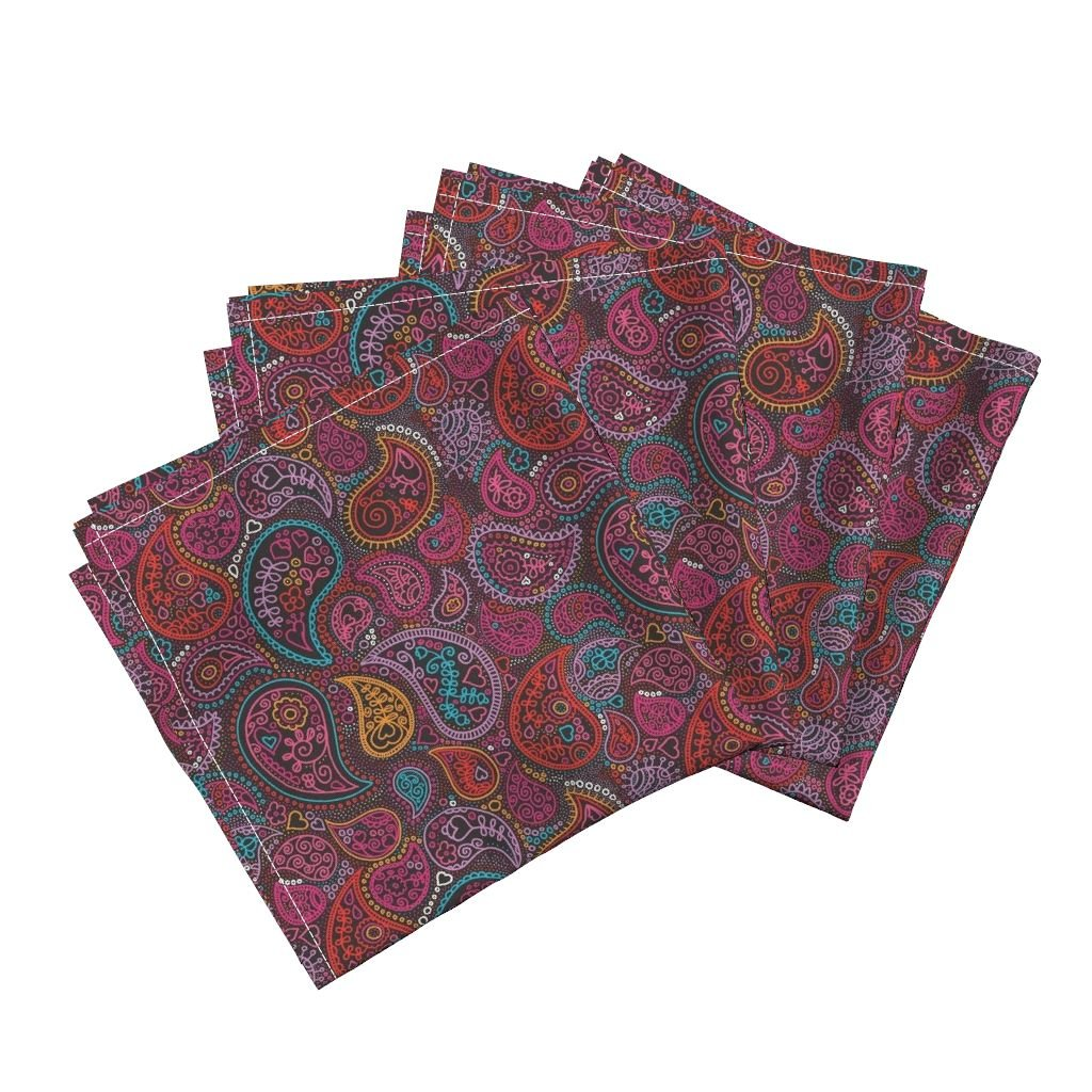 Roostery Damask Arabic India Oriental Drawing Patch Work Paisley Organic Sateen Dinner Napkins Oriental Arabic India Paisley by Littlesmilemakers Set of 4 Dinner Napkins
