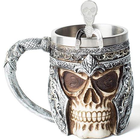 Amazon.com: Taza de cerveza de calavera Viking 3D de acero ...