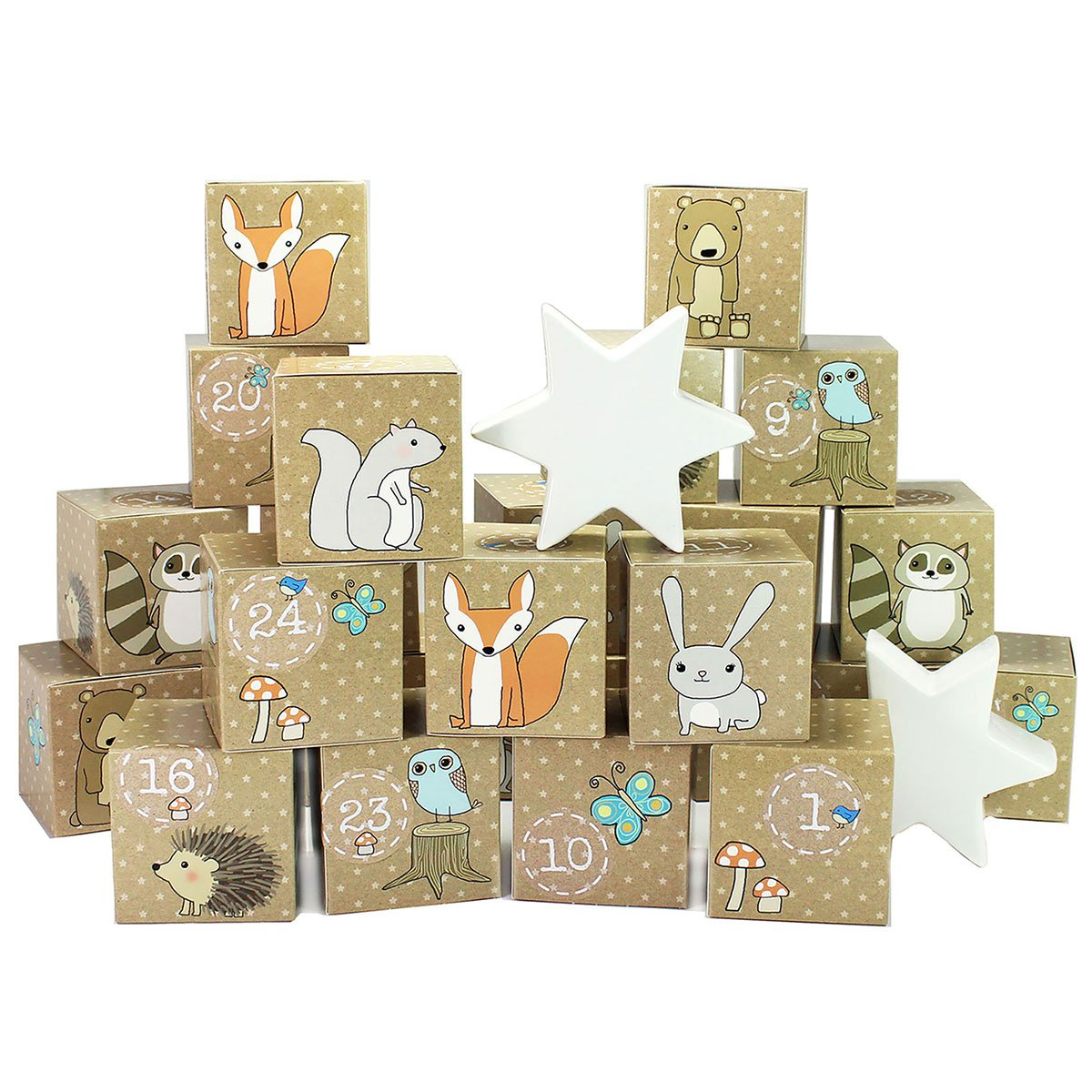 DIY Advent Calendar set - Woodland Animals - 24 printed Cardboard Boxes for making and filling PAPIERDRACHEN