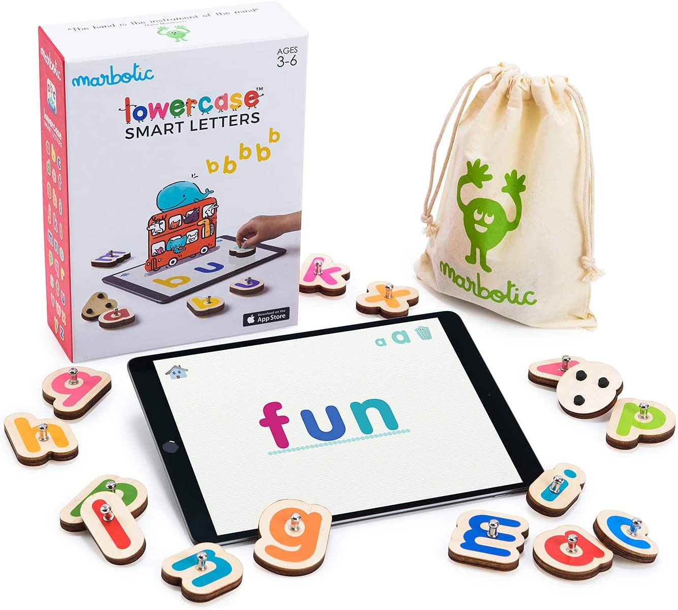 Marbotic - Lowercase Smart Letters for iPad - Ages 3-5 - Interactive Wooden Letters - Hands-on Educational Learning Games for Preschoolers - Homeschooling Tool for Early Reading & Writing