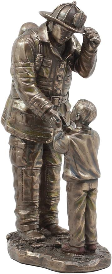 "CHILD THANKING FIREMAN STATUE RESCUE 8.5/"" Height Fire Fighter Hero 911 Figurine"