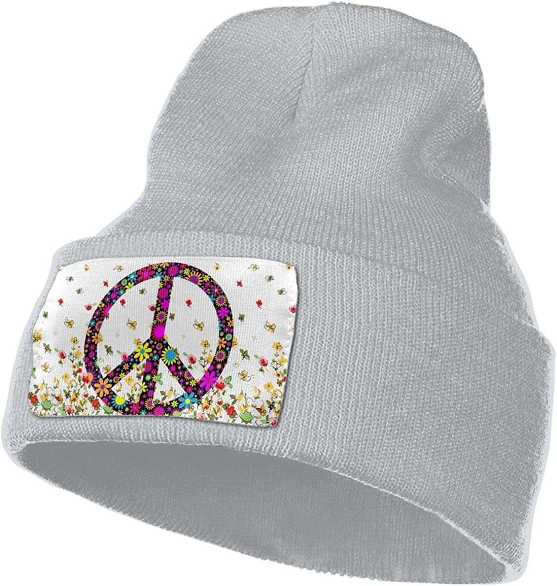 Love Peace Symbol Hat for Men and Women Winter Warm Hats Knit Slouchy Thick Skull Cap