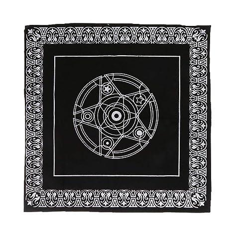 Jiamins Mantel Tarot Cuadrado divinatoire (49 x 49 cm), Tarot Pentagrama Mantel Velveteen para Juegos de Tarjetas de Textiles Juego de Tablero, Negro