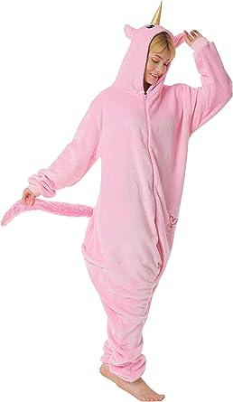 corimori- Kigurumi Pijamas (10+ Modelos) Rose el Unicornio Disfraz Adultos Invierno, Color rosa, Talla 180-190 cm (1852) , color/modelo surtido