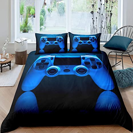 Video Games Theme Quilted Coverlet Erosebridal Kids Gamepad Bedspread Modern Gamer Coverlet Set for Children Boys Girls Teens Player Gaming Joystick Quilt Twin Size Decorative Room Blue