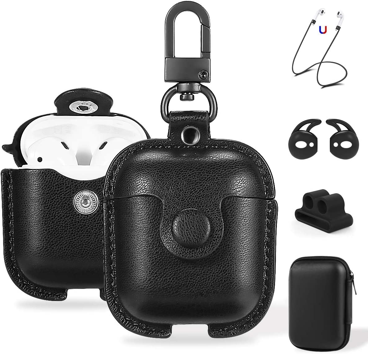 Airpods Case Cute  On Sale for Black Friday Gift for Men Women Personalized Leather Airpods Pro Case with Keychain,Custom Airpods Pro Cover