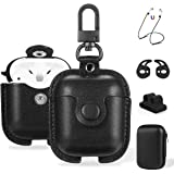 Maxjoy Compatible Airpods Case, Leather Airpods Cover 5 in 1 Protective Case with Keychain/Ear Hooks/Airpods Strap/Watch Band
