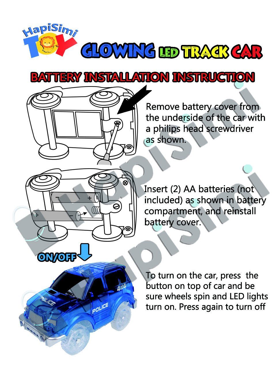 Track Car 3 Pack, Green Military Jeep, Blue Police and School Bus Car, with 5 LED Lights, Compatible with Most Tracks Including Magic Tracks, Neo Twister Tracks, Boys and Girls by HapiSimi (Image #9)