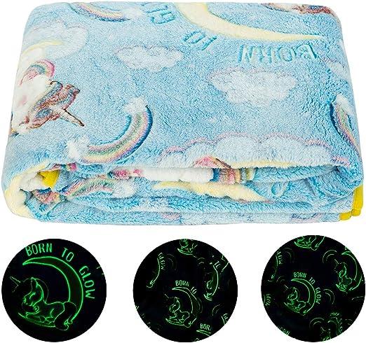 Glow in The Dark Throw Blanket Soft Plush Blanket Fun Gift for Kids Girls Boys
