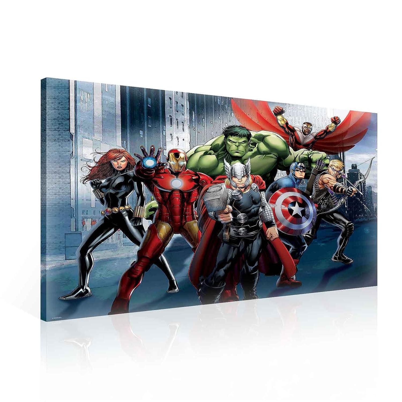 TapetoKids Leinwandbild Marvel Avengers Thor Iron Man Captain America Hulk Black Widow Hawkeye Gruppe in der Stadt - M - 60 x 40 cm - Komplettpaket! - fertig gerahmt und inklusive Aufhängung - hochwertige 230g/m² Leinwand auf Keilrahmen - kinderl
