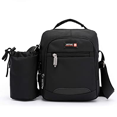 24c090394e Small Shoulder Bag for Men Mini Messenger Bag Casual Bag Crossbody Bag with  Removable Water Bottle