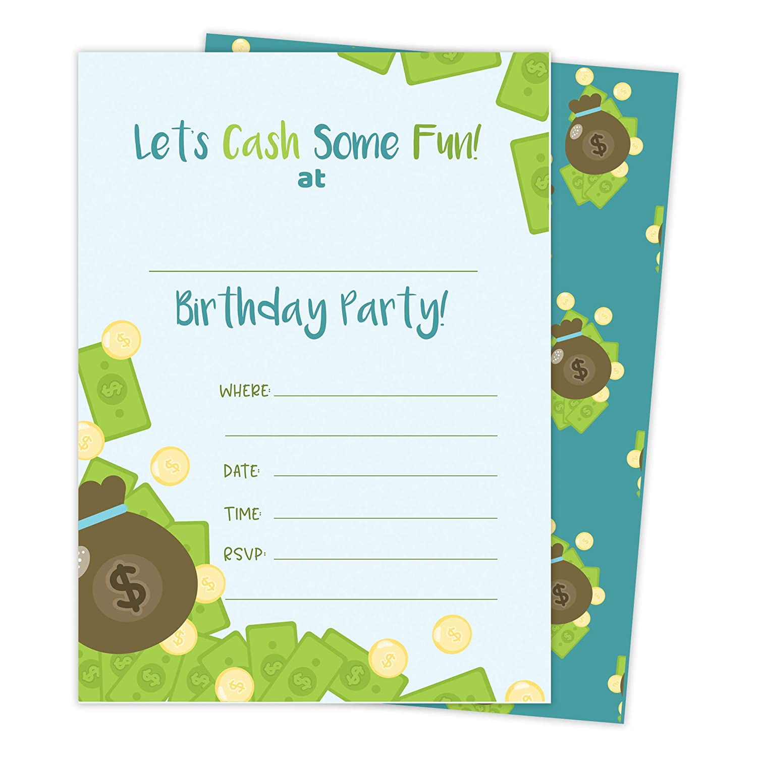 Cash Money 3 Happy Birthday Invitations Invite Cards 25 Count With Envelopes Seal Stickers Vinyl Boys Girls Kids Party