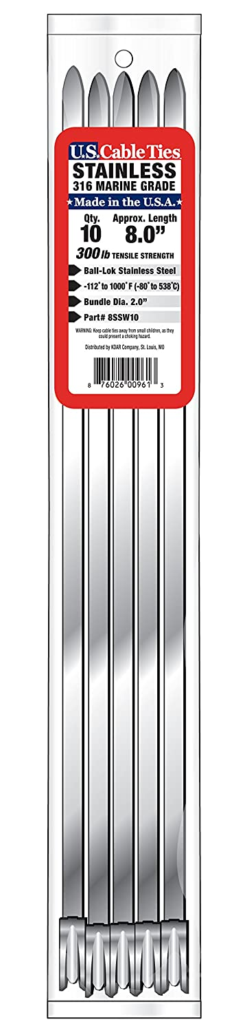 US Cable Ties 14SSW10 14-Inch 300-Pound 316 Wide Stainless Steel Ties 10-Pack