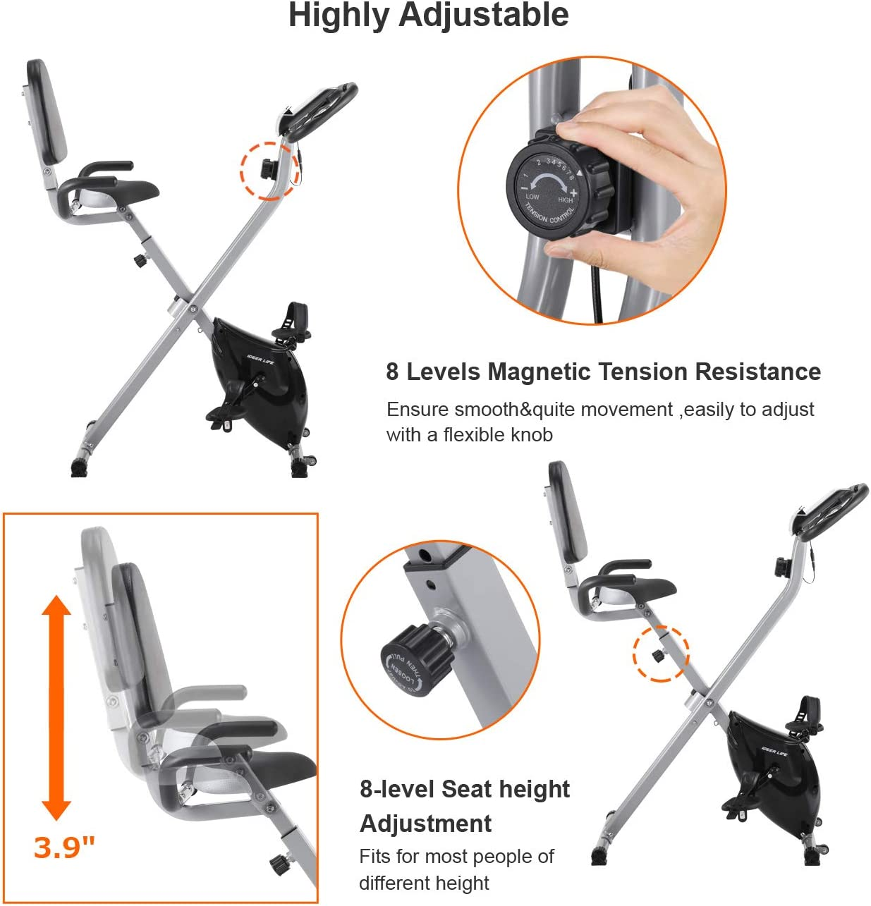 Bike Stationary Workout Trainer Stand,Black HTNBO Steel Bike Trainer Stand Indoor Bicycle Exercise Magnetic Stand w// 7 Levels of Resistance