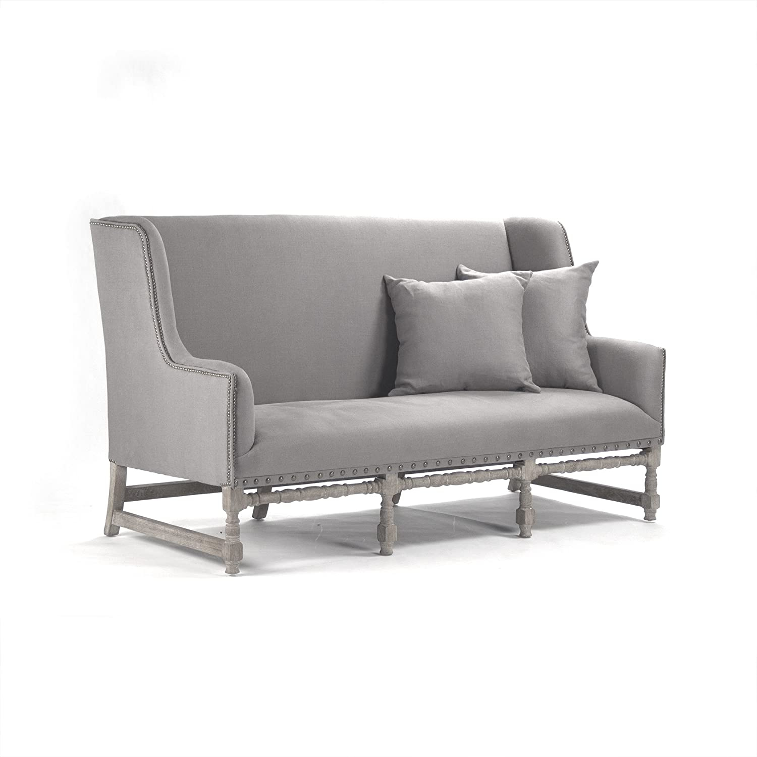 Zentique Aubert Bench, Grey Linen