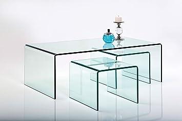 Kare Design Couchtisch Glas Clear Club 8er Set, Glastisch Wohnzimmer,  Beistelltisch Glas, Designer Tisch, Kaffeetisch Set (H/B/T) Groß  86x8x8cm/