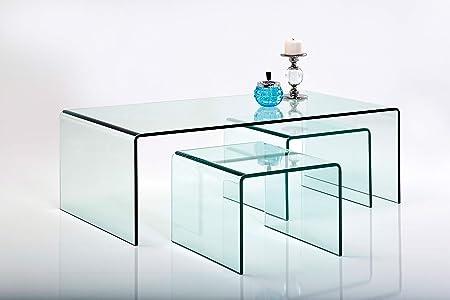 Kare Design Couchtisch Glas Clear Club 3er Set Glastisch Wohnzimmer