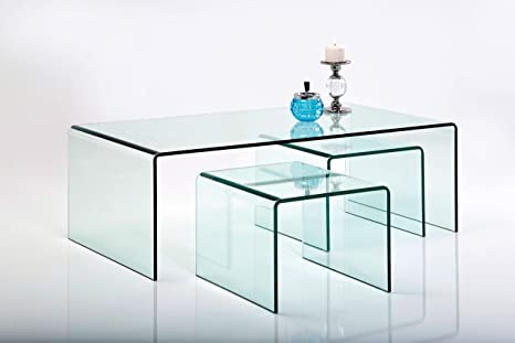 Kare Design Couchtisch Glas Clear Club 3er Set, Glastisch ...