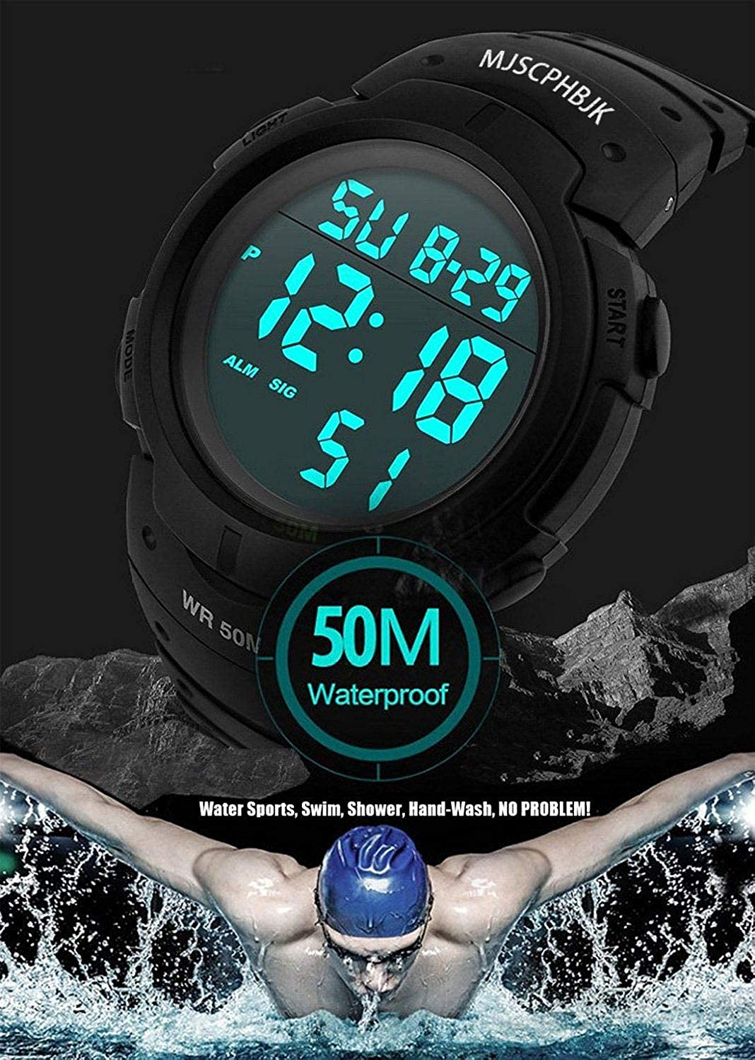80681a63248 Amazon.com  MJSCPHBJK Mens Digital Sports Watch