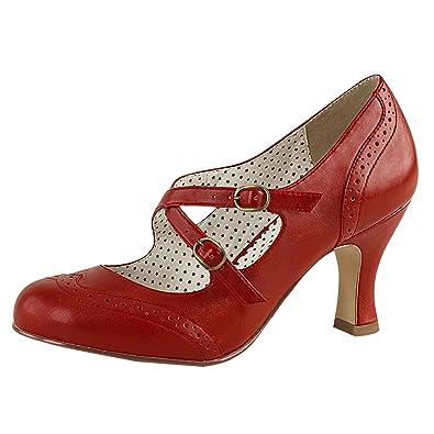 Higher-Heels Pin up Couture Damen Maryjane Pumps Flapper-35 Rot Gr. 37 dVyaN9Ze