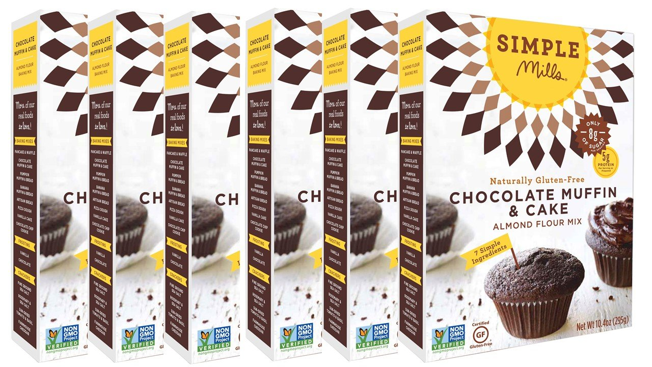Simple Mills Almond Flour Mix, Chocolate Muffin & Cake, 10.4 oz, 6 count by Simple Mills