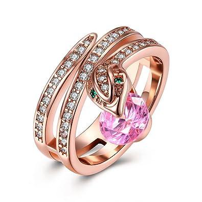 ed7b0988854e YAZILIND joyería 18 k Rosa Chapado en Oro Exquisita Serpiente con Anillo de Zirconia  cúbico Ronda Rosa para el Partido de la Boda  Amazon.es  Joyería