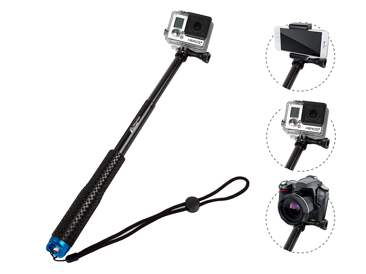 """ProsPole Extendable Pole an Aluminium Telescopic Monopod Extension & adjustable Selfie Stick for Gopro Hero 4 Session Black Silver Hero 2 3 3+ 4 and other Action Cameras (Blue 37"""")"""