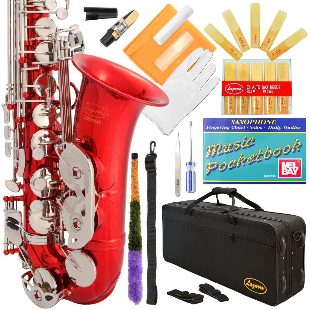 Saxofon Alto Rojo Y Llaves Plateadas Lazarro Con Funda (xmp)