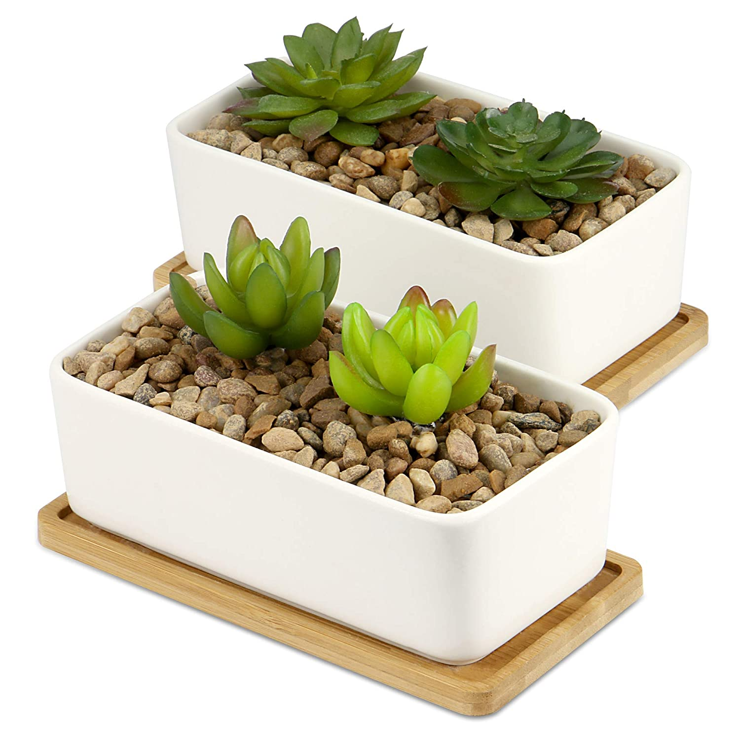 Ceramic Plant Pots Bamboo Base Home House Indoor Succulent