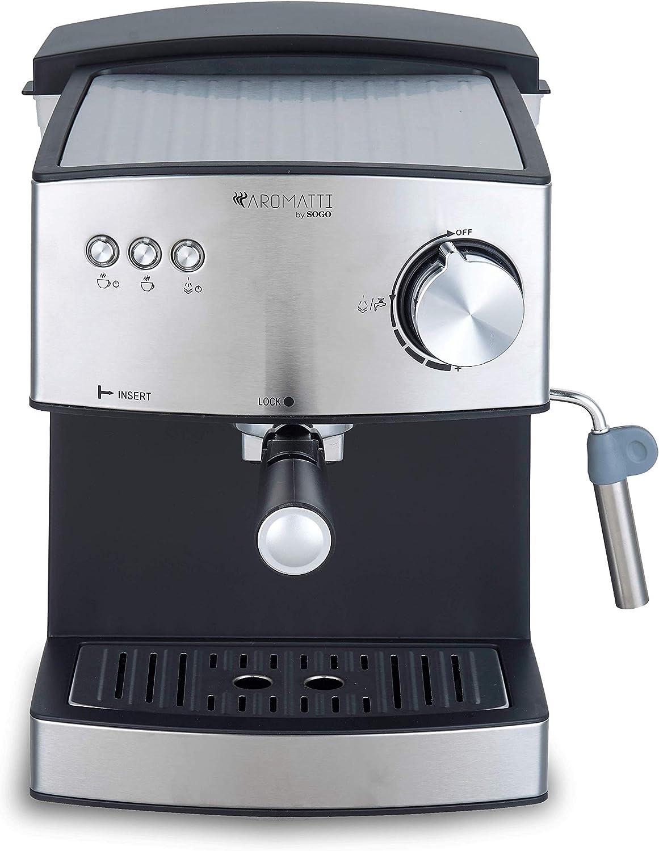 SOGO CAFETERA Combi SS-5665 Aromatti, 850W, 15/20 Bar, para Café Molido y Cápsulas E.S.E. Mono dosis, Vaporizador, Superficie Calienta Tazas, Brazo Doble Salida: Amazon.es: Hogar