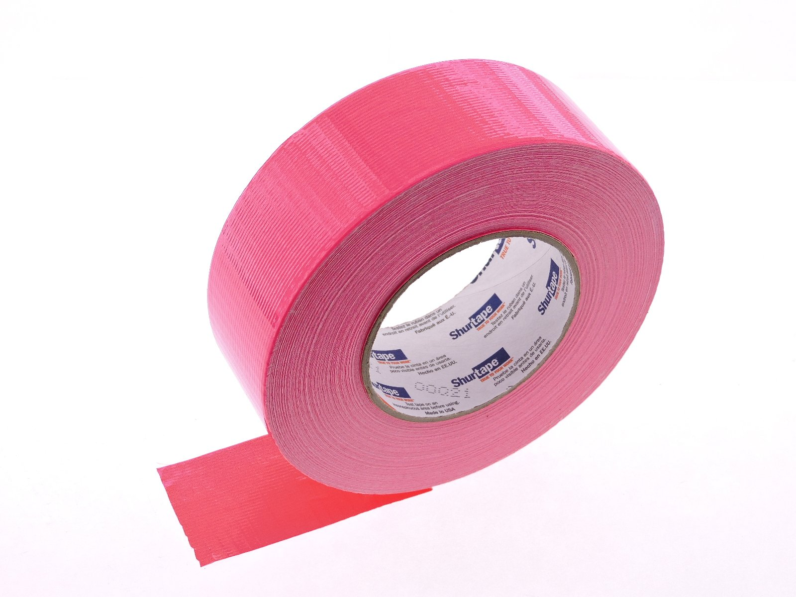 PC-619 Shurtape 2'' Pink Bright Fluorescent Magenta Neon Colored 9 Mil Cloth Duct Tape Water UV Tear Resistant 60yd USA Made Colors High Visibility Safety Warning Marking