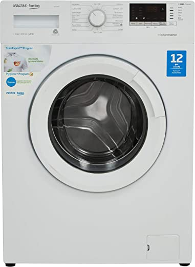 Voltas Beko 6 Kg Inverter Fully-Automatic Front Loading Washing Machine, Inbuilt Heater, 26 Stain Remover (WFL60WS, White)
