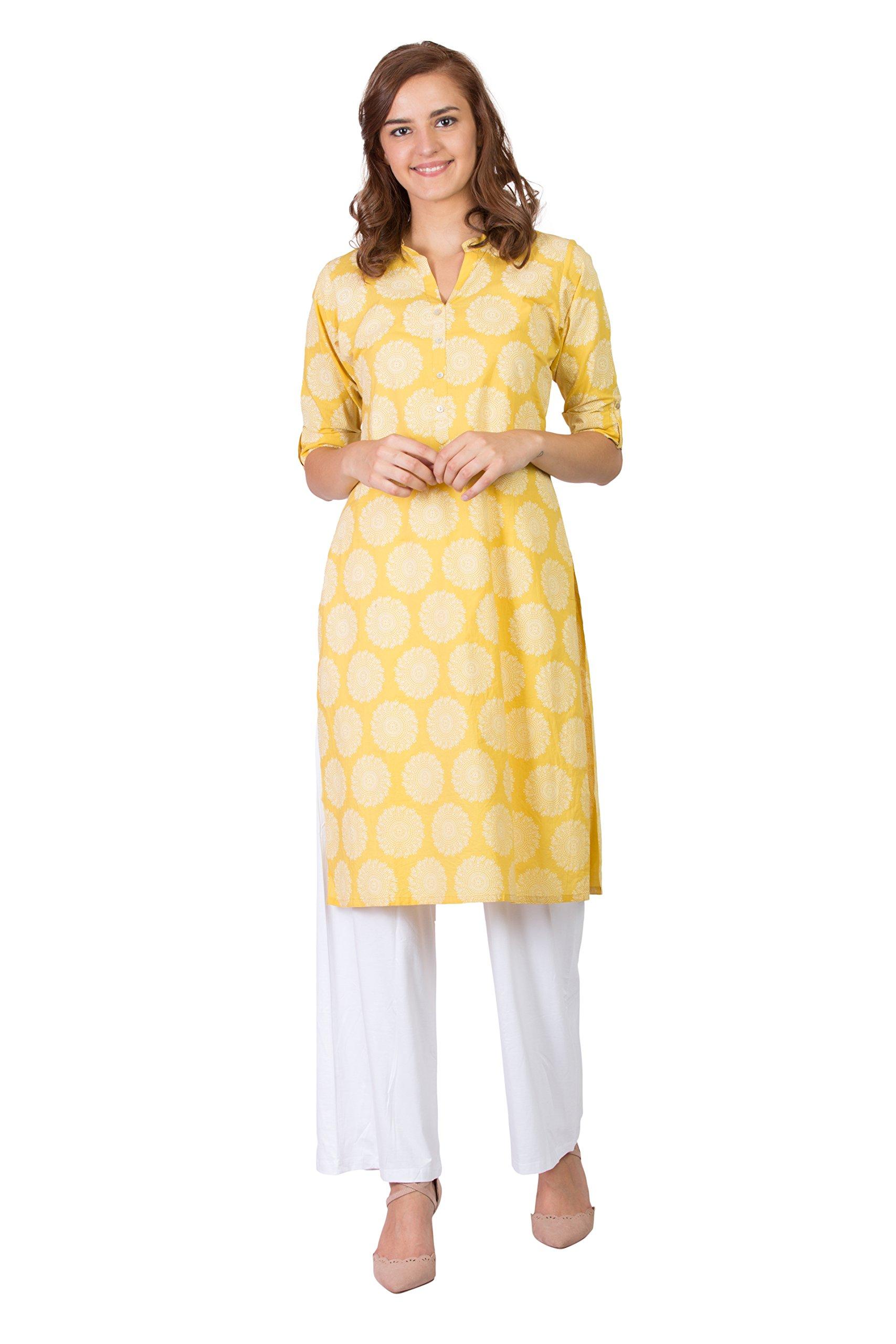 SABHYATA Women Kurta Designer Ethnic Long Dress Casual Tunic Kurti for Women Ladies Partywear Material 100% Pure Cotton Chinese Collar Small Mustard