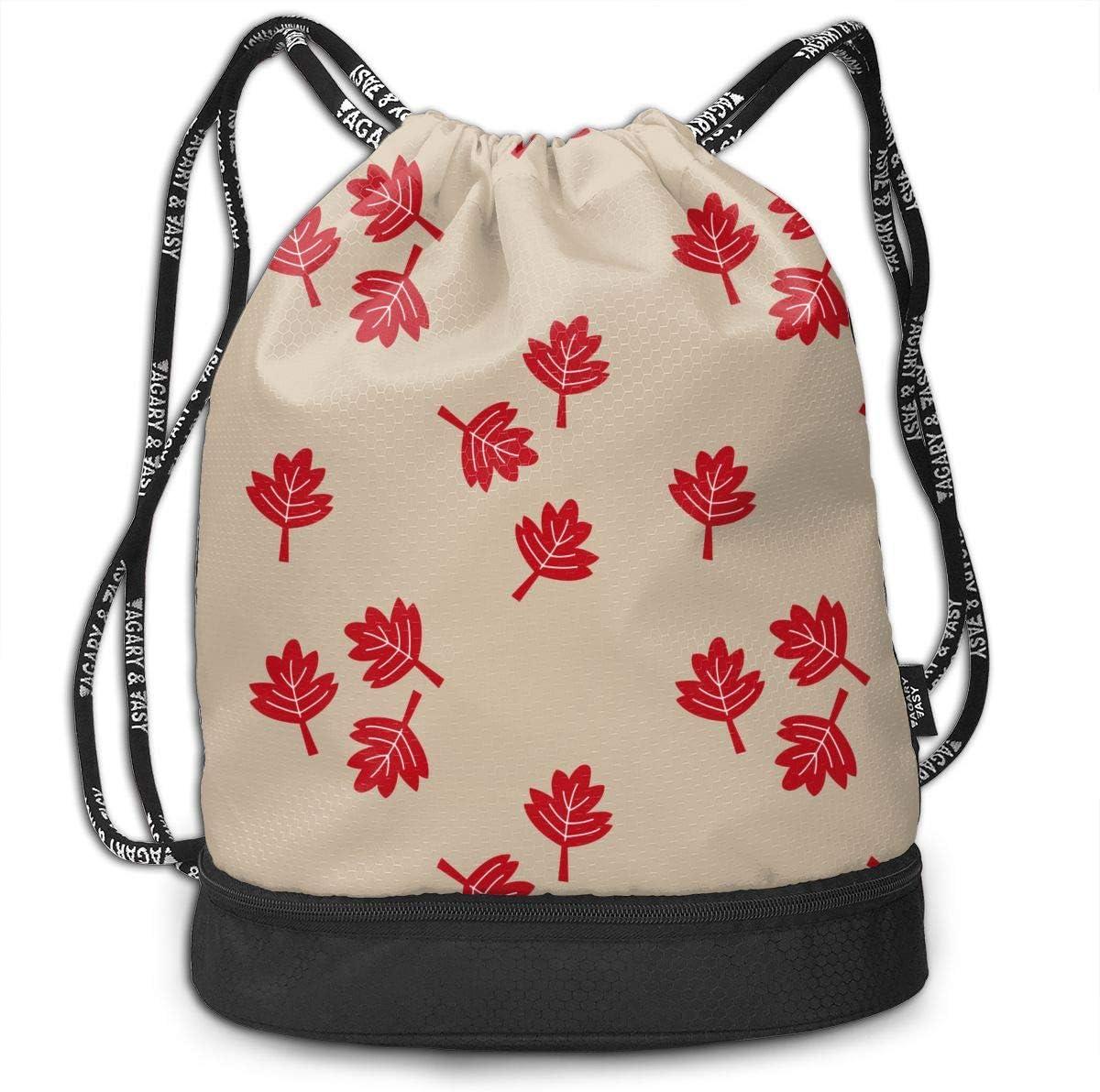 Drawstring Backpack Canadian Maple Leaf Rucksack