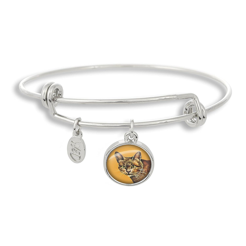 The Adjustable Band Bangle Bracelet featuring the Cat with Orange Background