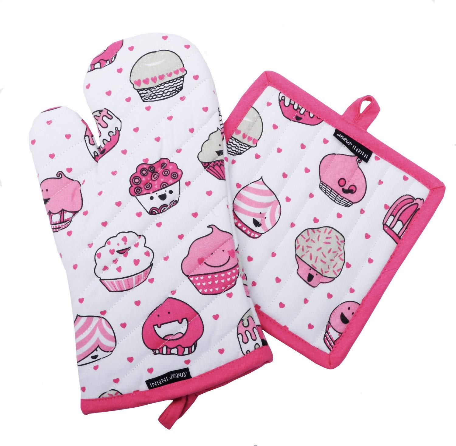 CASA DECORS Pot Holders and Oven Mitts, Valentine Cup Cakes Design, Heat Resistant, Made of 100% Cotton, Eco-Friendly & Safe, Set of 1 Oven Mitt and 1 Pot Holder, Pot Holders and Oven Mitts Sets