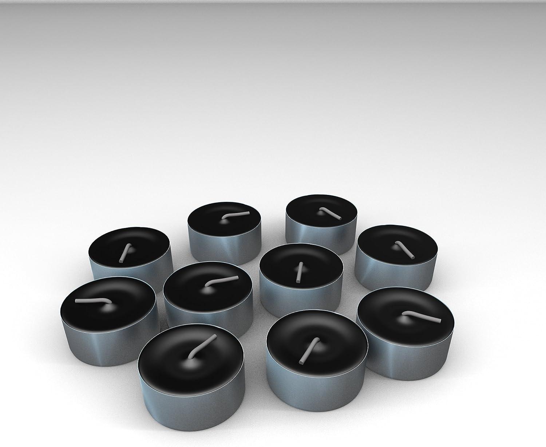 12 Teelichter Ø 38 mm · 18 mm schwarz in Polycarbonathülle durchgefärbt