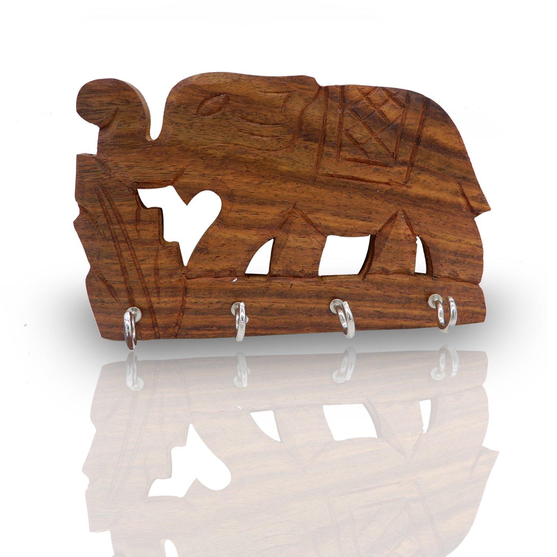 WhopperIndia Portachiavi a muro singolo in legno fatto a mano con chiave a forma di elefante Organizer per parete con 4 ganci 14 cm