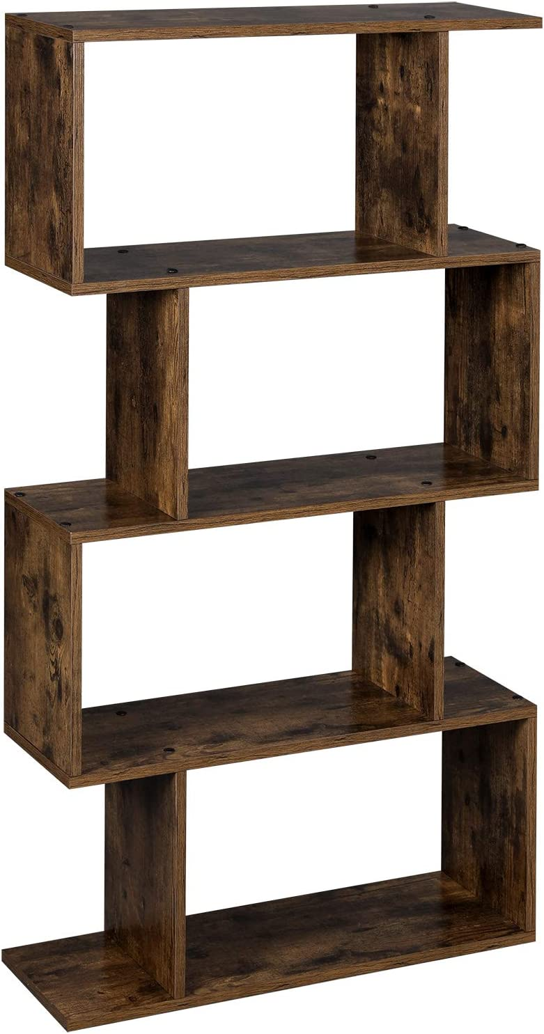 VASAGLE Wooden Bookcase, Display Shelf and Room Divider, Free-Standing Decorative 4-Tier Bookshelf Shelving Unit, Rustic Brown LBC41BX